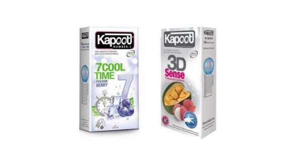 کاندوم کاپوت مدل 3D SENSE بسته 12 عددی به همراه کاندوم مدل 7Cool Time